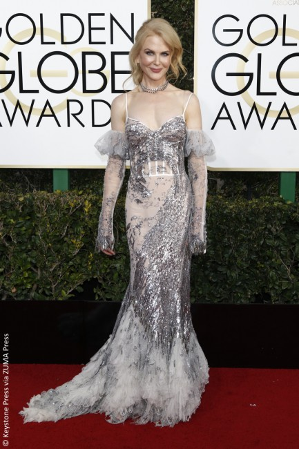 Nicole Kidman may have scored a nom for Lion, but her metallic Alexander McQueen gown from the Spring 2017 collection was a complete disaster. The sheer, off-the-shoulder sleeves are repulsive and the silver sequin embroidery is just confusing. Maybe she thought she was auditioning for the role of an '80s Ice Queen? We love her […]