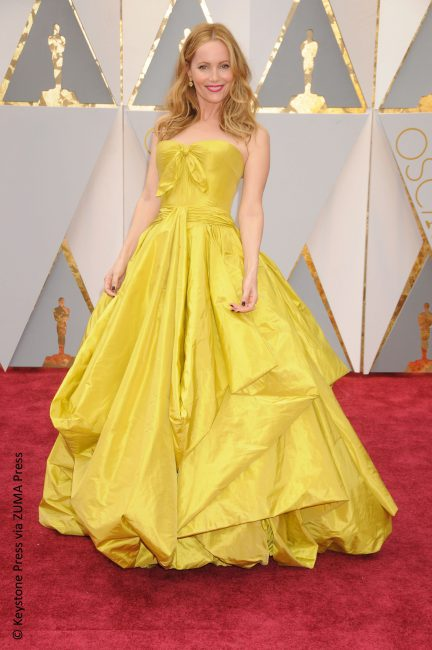 We adore Leslie Mann, but we just can't ignore her fashion misstep. We're not sure whether she was going for a look reminiscent of Belle in Beauty and the Beast, but the point is her Zac Posen dress (drape?) swallowed her. All around bad.