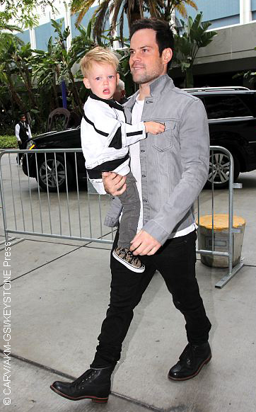 A photo of Mike Comrie and his son Luca (mother is Hilary)