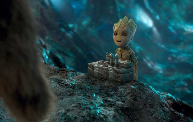 The photo says it all. Voiced by Vin Diesel in Guardians of the Galaxy Vol. 2, Baby Groot is off the charts on the cuteness scale. With big black eyes and tiny, baby-like fingers, he's undeniably adorable and steals every scene he's featured in. We can't get enough of him.
