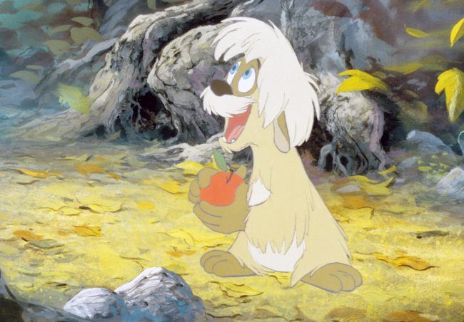 Gurgi is a small, apple-loving, gopher-like creature in The Black Cauldron. He has innocent blue eyes and shaggy, brown fur. He is depicted as cowardly throughout much of the film, but proves himself toward the movie's end. He's easily our favorite part of the Disney classic, and his endearing speech impediment certainly doesn't hurt.
