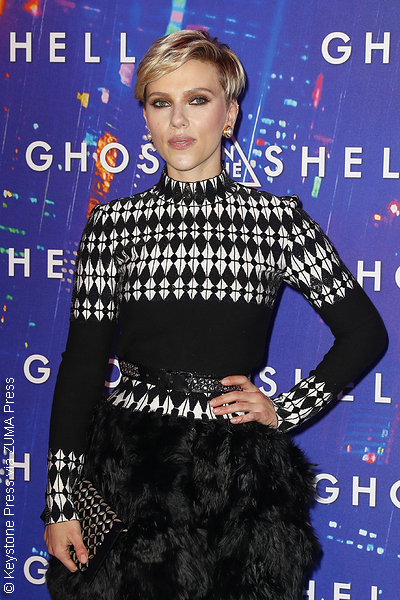 Scarlett Johansson at an event for her film Ghost in the Shell