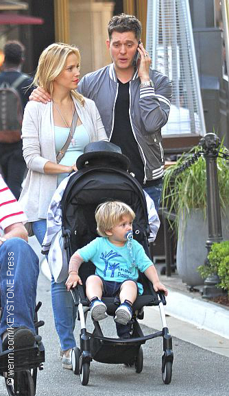 Michael Bublé, his wife, Luisana, and their son, Noah.