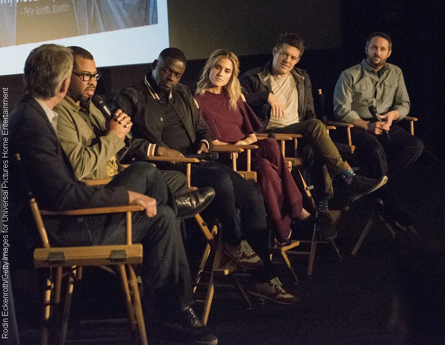 Get Out director Jordan Peele, actors Daniel Kaluuya and Allison Williams, producers Jason Blum and Sean McKittrick