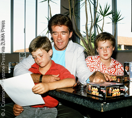 Alan Thicke with sons Brennan and Robin in 1987