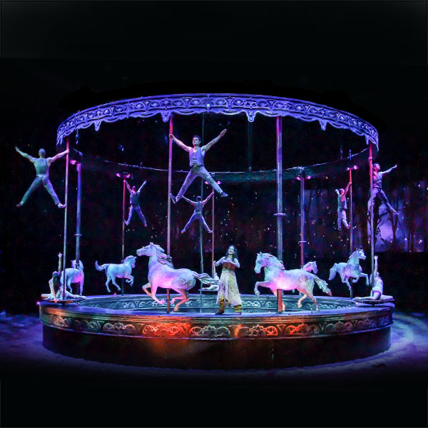 Cavalia Odysseo Carousel with acrobats and singer