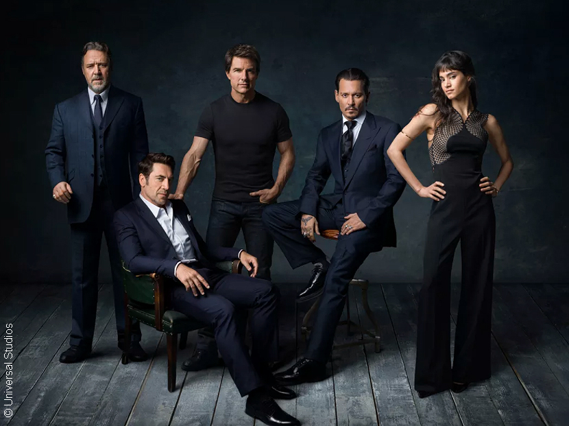 Russell Crowe, Javier Bardem, Tom Cruise, Johnny Depp, Sofia Boutella