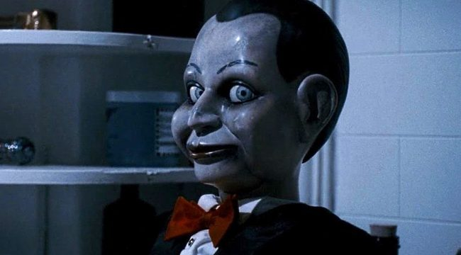 While Billy from Dead Silence (2007) doesn't exactly have the mobility to be chasing down his victims, his sinister paranormal powers are just as horrifying. He is the property of his deceased (but still very active) and demonically evil ventriloquist owner, Mary Shaw, and is one doll that will haunt your dreams for sure.