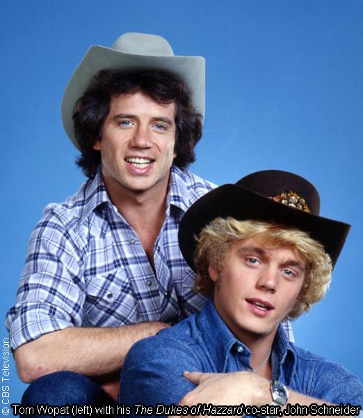 Tom Wopat (left) on The Dukes of Hazzard with co-star John Schneider