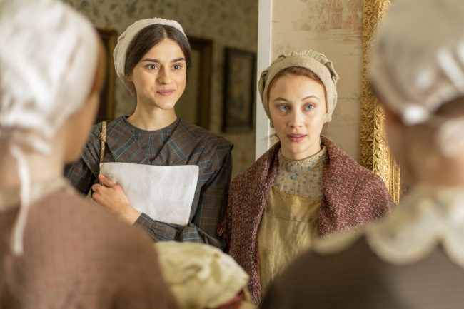 When servant Grace Marks (Sarah Gadon) is implicated in the murder of her boss (Paul Gross) and his mistress Nancy (Anna Paquin) in Alias Grace, she goes on the run with stable hand James McDermott (Kerr Logan).