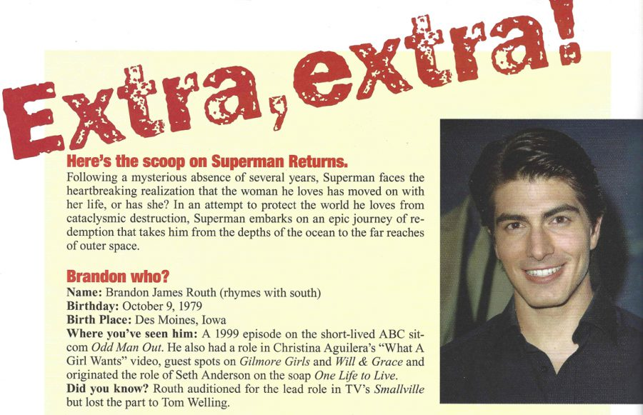 Brandon Routh Superman announcement from Tribute magazine