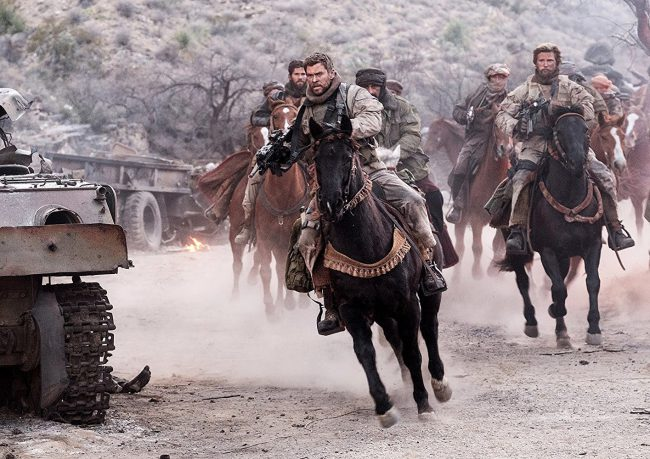 Starring: Chris Hemsworth, Michael Shannon, Michael Peña, Trevante Rhodes Based on the book Horse Soldiers by Doug Stanton, this action-packed war drama tells the story of the elite team of U.S. soldiers who were one of the first teams sent into Afghanistan to fight the Taliban after the horrific events of 9/11.