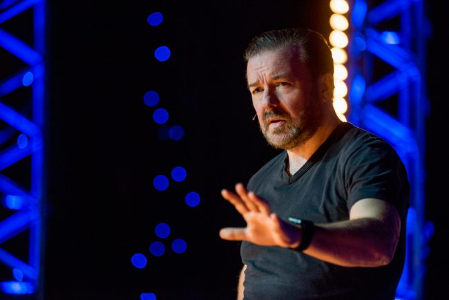 Golden Globe and Emmy Award-winning British comedian Ricky Gervais returns to the stage at the Apollo Hammersmith in London with a special that touches on aging, becoming spoiled, his perspective on having kids and more.