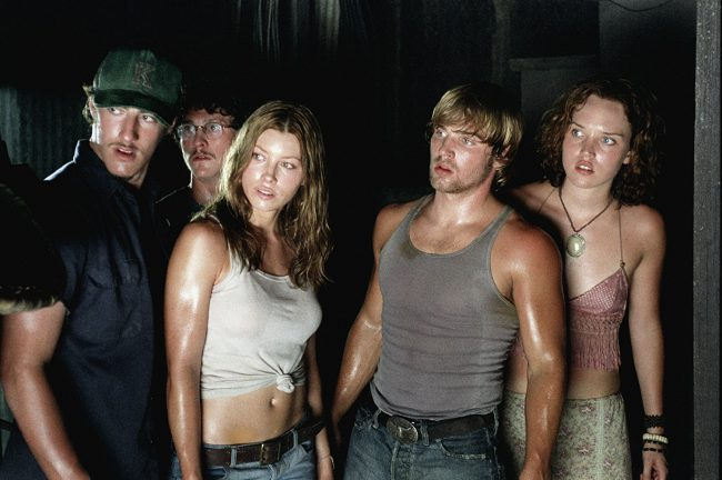 In this 2003 movie (a remake of the 1974 movie, The Texas Chain Saw Massacre), a group of friends (pictured: Eric Balfour, Jonathan Tucker, Jessica Biel, Mike Vogel and Erica Leerhsen) passing through rural Texas pick up a distressed hitchhiker who eventually commits suicide in their van. When the group tries to seek help from […]