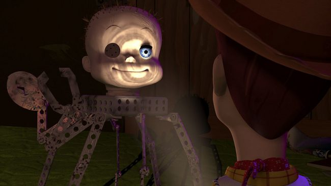 In Toy Story, Andy's sadistic neighbor, Sid, has a penchant for creating terrifying hybrid toys. After Woody and Buzz become trapped in Sid's bedroom, they're surrounded by these monstrosities. The most terrifying toy crawls out from the shadows, revealing itself to be a baby head mounted atop robotic spider legs. As a kid, it was […]