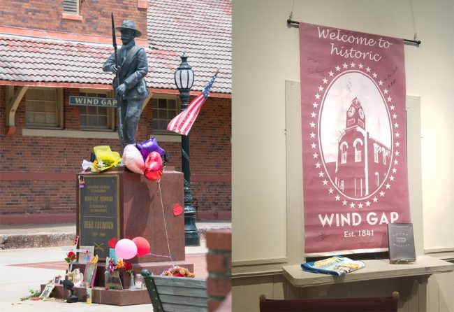 "The statue of the Wind Gap founder Zeke Calhoun was installed for filming. The items placed around it are the Ann Nash memorial items placed by friends and family. As can be seen on the right, the town has a ""Sharp Objects"" book signed by the cast. It also has a historic ""Welcome to Wind […]"