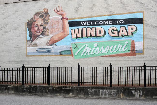 The mural can still be seen in Barnesville on Market Street. Barnesville's Andrew Henry worked with the artists on set to create these murals, and some of his work can be seen on Barnesville buildings.