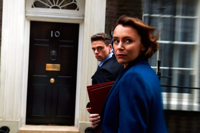 After rescuing a train from a suicide terrorist bomber, former British soldier and ex-policeman David Budd (Richard Madden) is assigned to protect the Home Secretary, Julia Montague (Keeley Hawes), whose politics go against everything he believes in in this six-episode series.