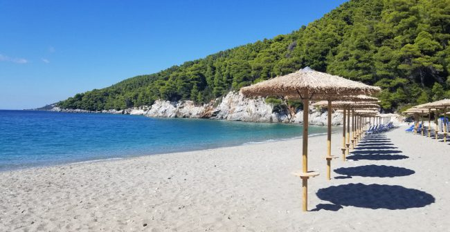 Several Mamma Mia! numbers were filmed on this beach and given this view; we understand why.