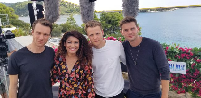 The young dads, played by Hugh Skinner, Josh Dylan and Jeremy Irvine, tell Marriska Fernandes about getting the moves right, their favorite number and how they got into character on Mamma Mia! Here We Go Again.