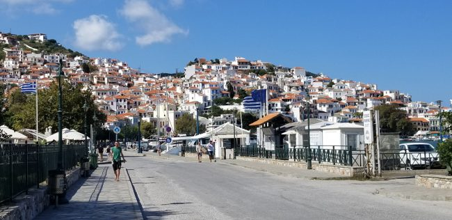 Skopelos Village is the main town on the island. It is wrapped around the hills over the harbor. There are several restaurants and shops located here. The Mamma Mia! cast had dinner here during their stay on the island.