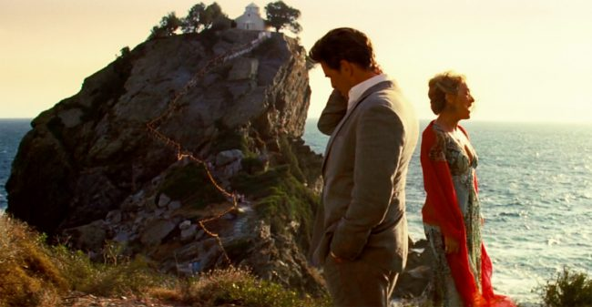 "Donna (Meryl Streep) and Sam (Pierce Brosnan) sing ""The Winner Takes It All,"" which was filmed at the bottom of the rock."