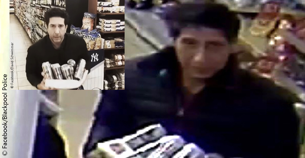 Left: David Schwimmer Right: Blackpool beer thief