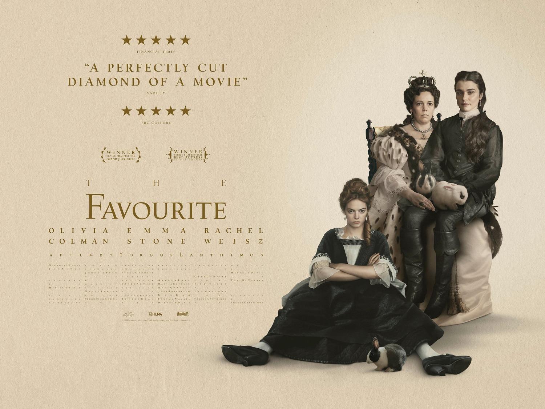 The Favourite starring Emma Stone, Rachel Weisz, Olivia Colman