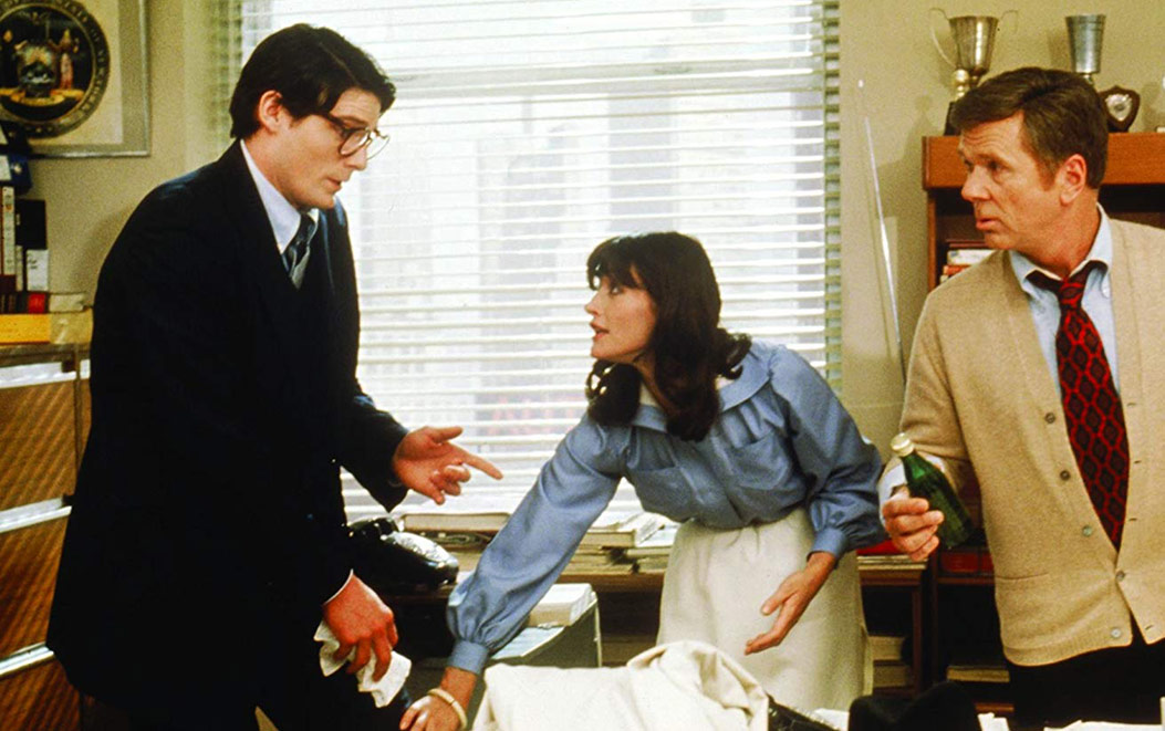 Margot Kidder with Christopher Reeve (l) and Jackie Cooper (r) in Superman