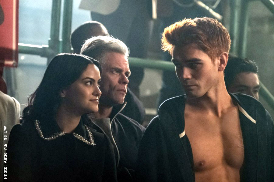 Camila Mendes as Veronica, Martin Cummins as Tom Keller and KJ Apa as Archie