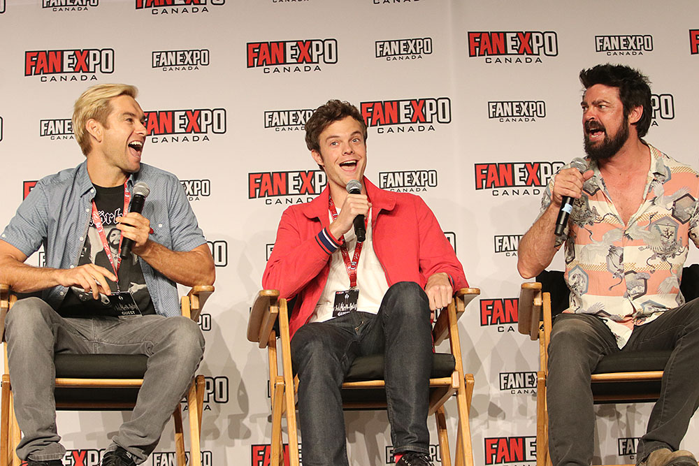 Antony Starr, Jack Quaid and Karl Urban