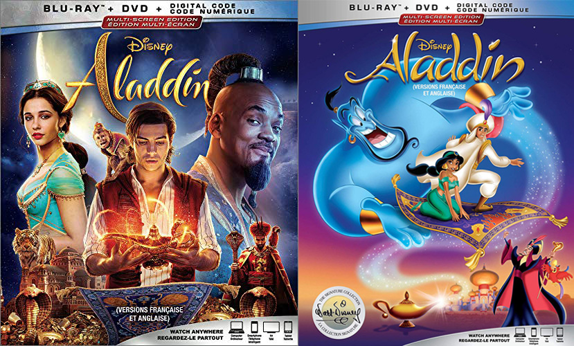 Aladdin (2019) and Aladdin (1992) on Blu-ray and DVD