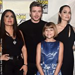 Eternals cast members Salma Hayek, Richard Madden, Lia McHugh and Angelina Jolie