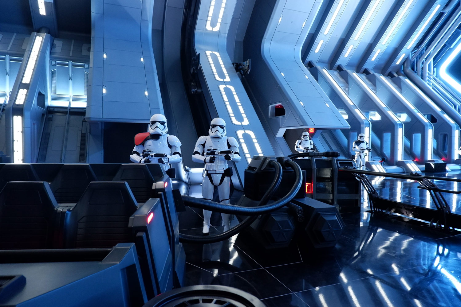 Stormtroopers greet the recruits at Star Wars: Rise of the Resistance