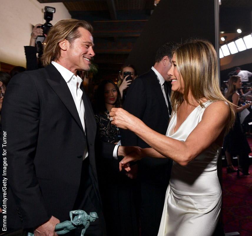 Brad Pitt and Jennifer Aniston backstage at the SAG awards