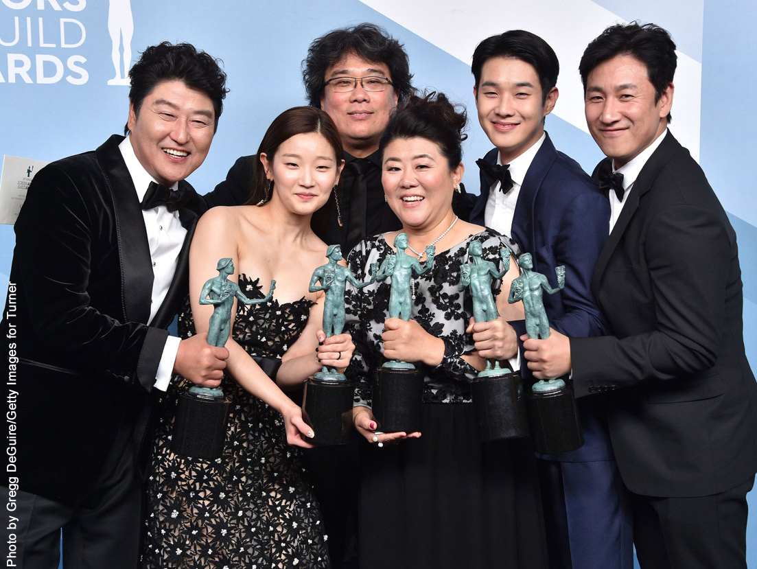 Parasite cast Song Kang-ho, Cho Yeo-jeong, director Bong Joon-ho, Lee Jung-eun, Choi Woo-shik, and Lee Sun-kyun