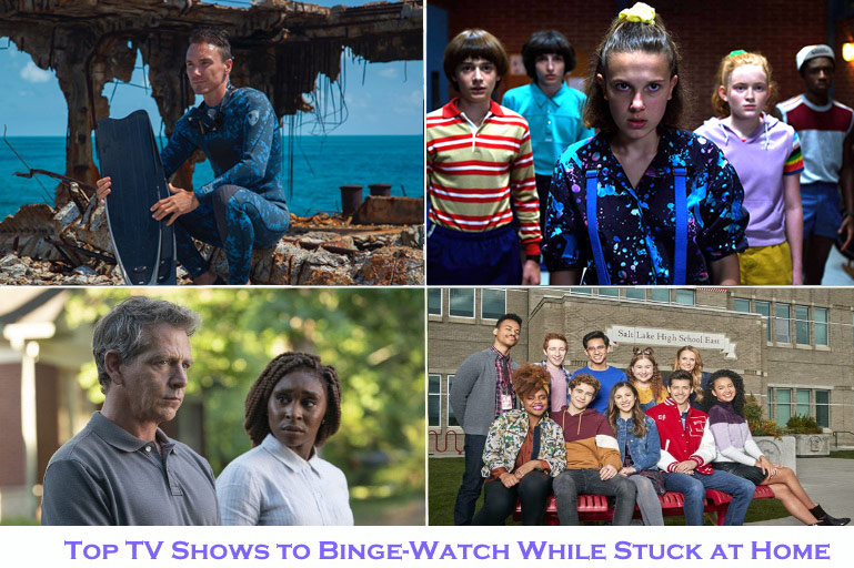 Clockwise from top left: Sharkwater Extinction, Stranger Things, High School Musical: The Musical - The Series and The Outsider