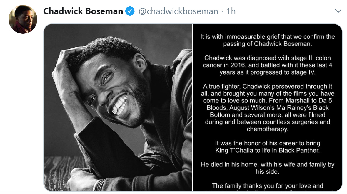 Chadwick Boseman dies at 43