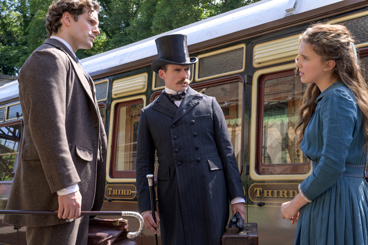Henry Cavill, Sam Claflin and Millie Bobby Brown in Enola Holmes