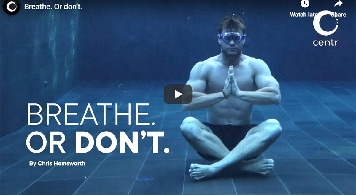 Chris Hemsworth Meditation video image courtesy centr YouTube