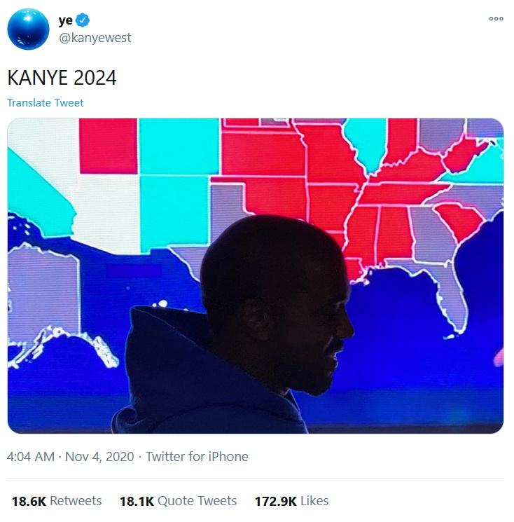 Kanye West admits election defeat, announces 2024 bid