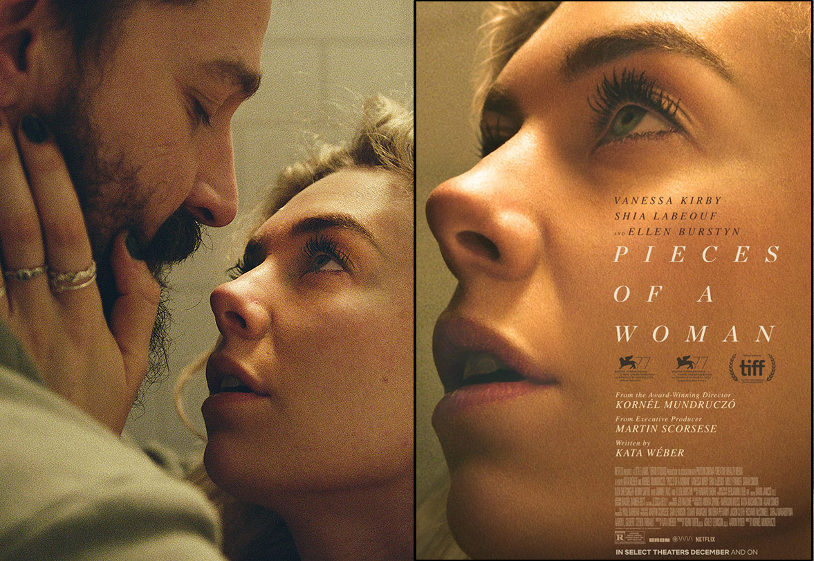 Pieces of a Woman L: movie still with Shia LaBeouf R: poster with only Vanessa Kirby