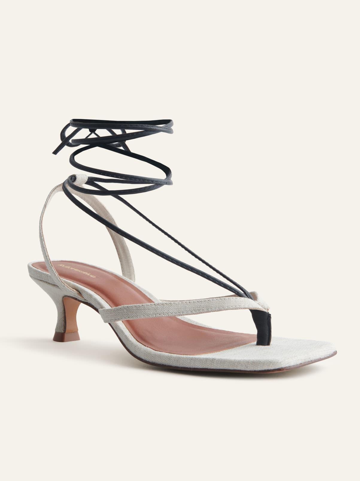 Reformation Shoes Selene Lace Up Kitten Heels Sandal