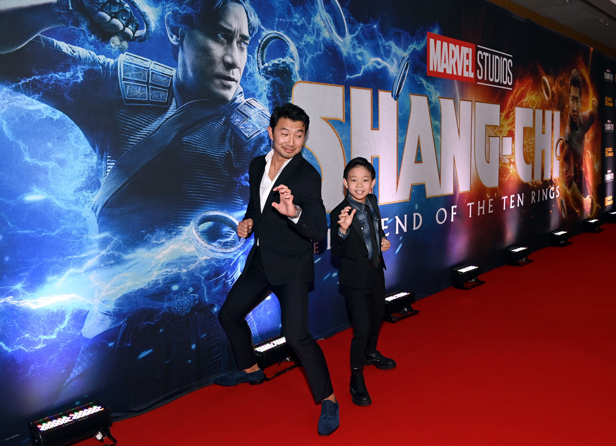 Simu Liu and Jayden Zhang at the Toronto premiere of Shang-Chi and the Legend of the Ten Rings on Sept. 1, 2021. Photo by Ryan Emberley/Getty Images for Disney