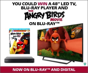 "Enter to win 48"" LED TV & Blu-ray player and a copy of The Angry Birds Movie on Blu-ray"