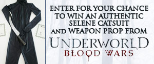 Enter for your chance to win an authentic Selene Catsuit and Weapon Prop from Underworld: Blood Wars along with an iTunes Gift Card for your Underworld Digital Movie Collection.