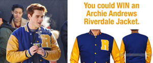 Enter to win a RIVERDALE KJ APA ARCHIE JACKET as seen in the series Riverdale. Men's large with a value over $119
