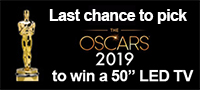 "Last chance to pick the 2019 Oscars to win a 50"" LED TV"