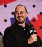 Darren Aronofsky smiling at the press conference