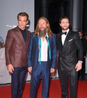 Chris Pine, David Mackenzie and Aaron Taylor-Johnson on the Outlaw King red carpet